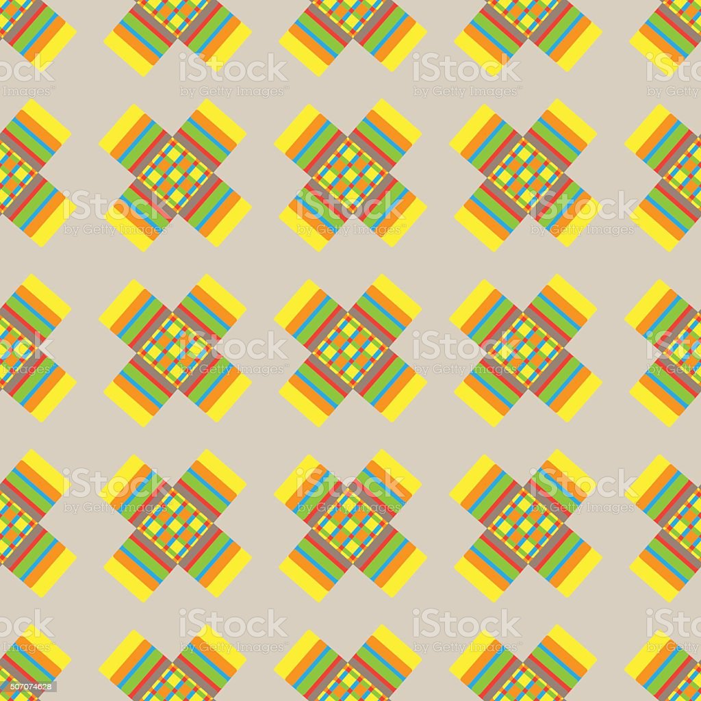 Abstract colorful crosses vector seamless pattern on beige backg vector art illustration