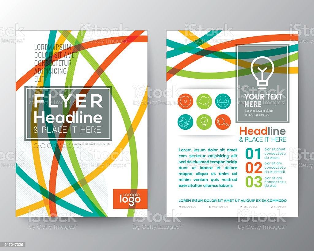 Abstract Colorful Curved Line shape Poster Brochure Flyer design vector art illustration