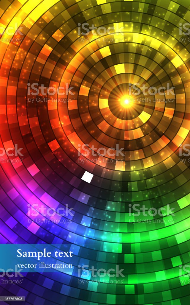 Abstract Colorful Disco Lights. Tunnel. Vector vector art illustration