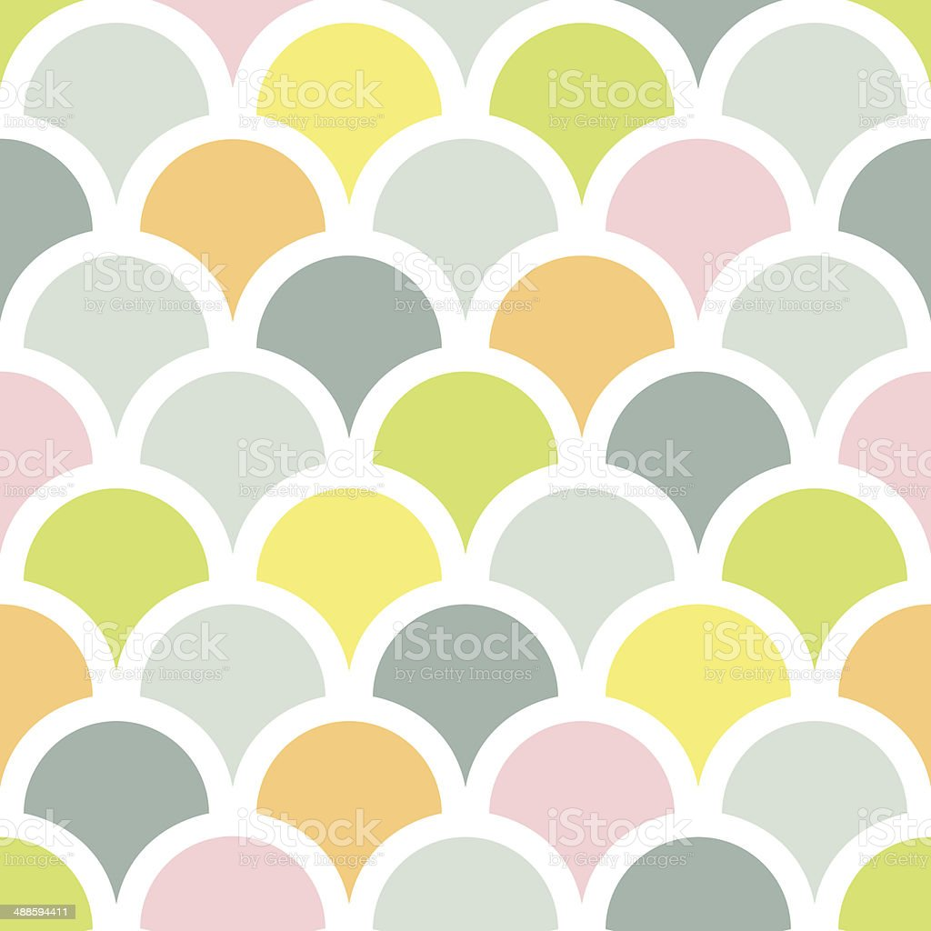 Abstract colorful fishscale seamless pattern background vector art illustration