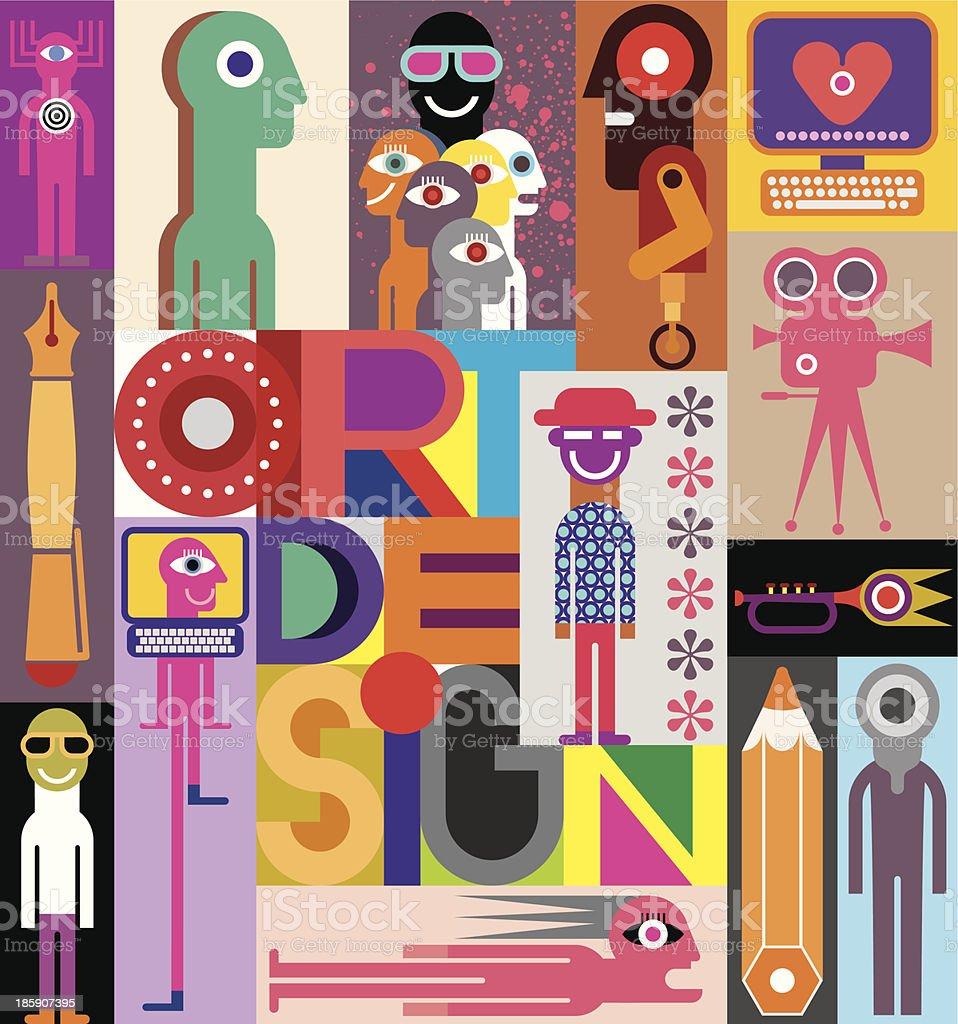 Abstract colorful flat art design vector art illustration