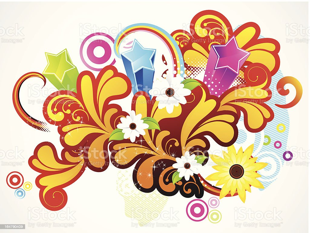 abstract colorful floral background with flower royalty-free stock vector art