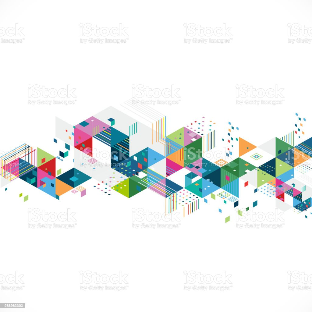 abstract colorful geometrical template with creative graphic and triangle vector art illustration