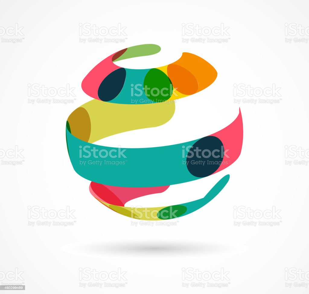 Abstract colorful globe business icon vector art illustration