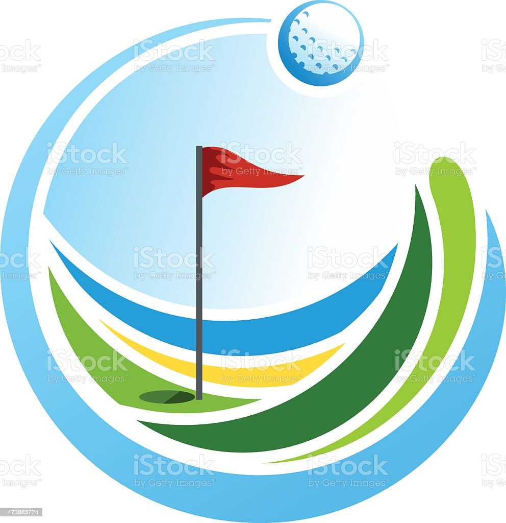 Abstract colorful golf emblem with red flag vector art illustration