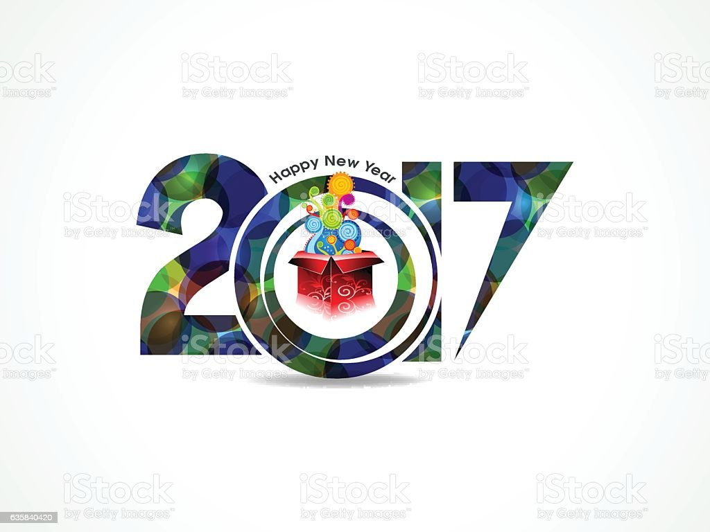 abstract colorful happy new year background with magic box vector art illustration