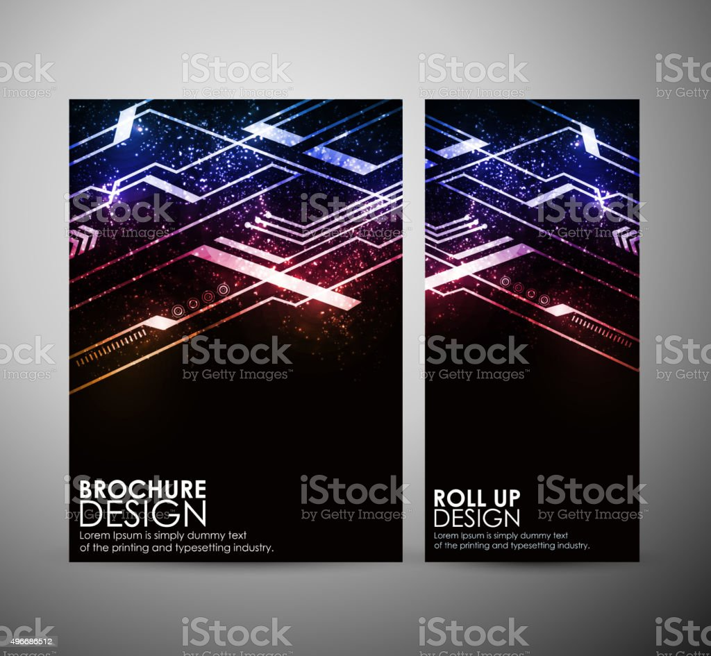Abstract colorful hi-tech brochure business design template or roll up. vector art illustration