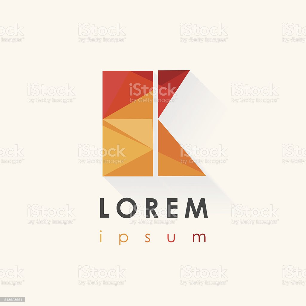 abstract colorful letter k logo design in low poly style vector art illustration
