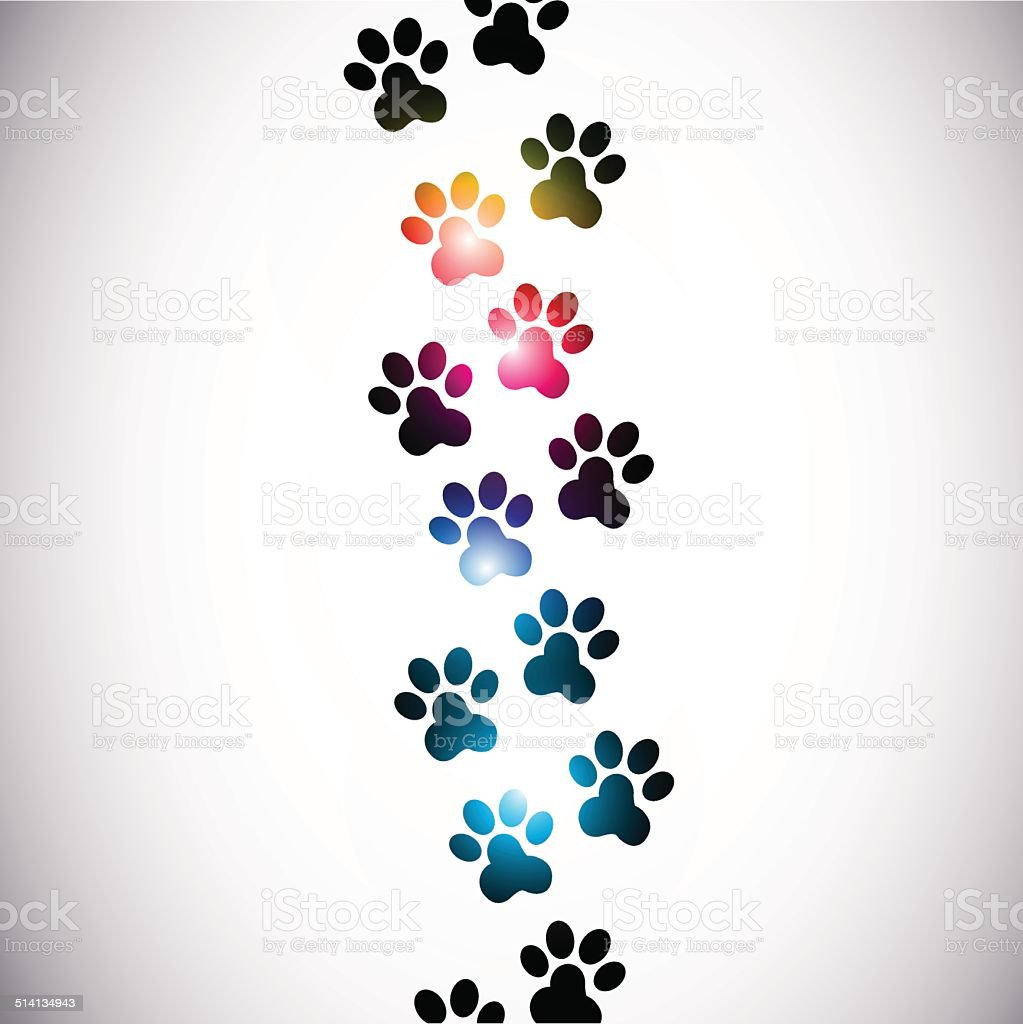 abstract colorful paw prints vector art illustration