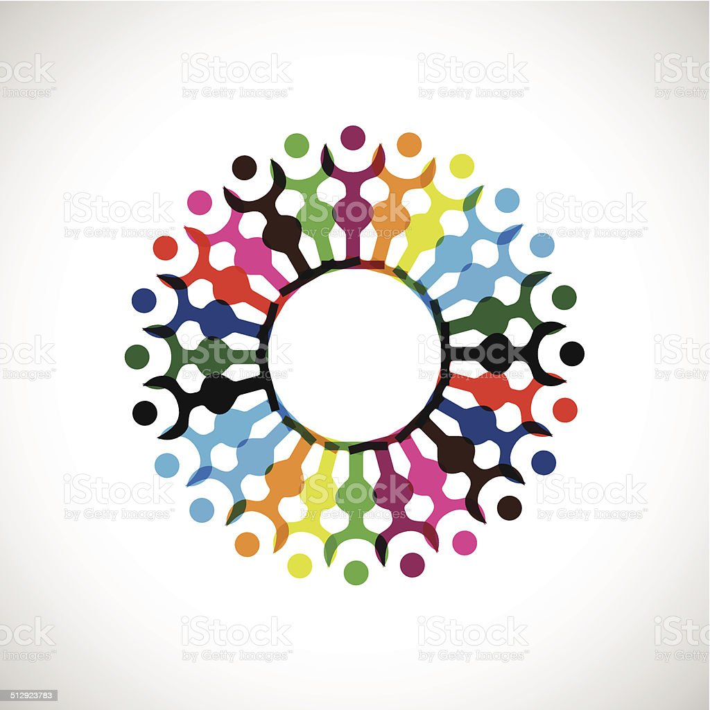 abstract colorful people with hand together icon for design vector art illustration