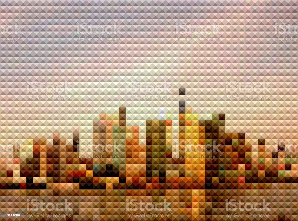 abstract colorful polka dots style Shanghai skyline background vector art illustration