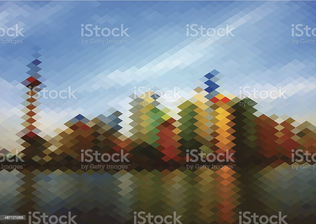 abstract colorful rhombus style city skyline pattern background vector art illustration