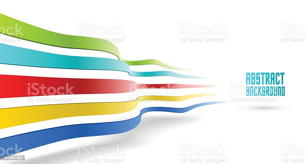 Abstract colorful ribbons composition vector art illustration