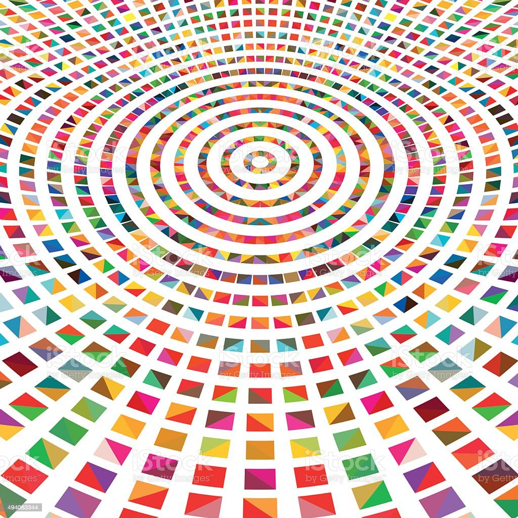 Abstract colorful squares, radial concept geometric background vector art illustration
