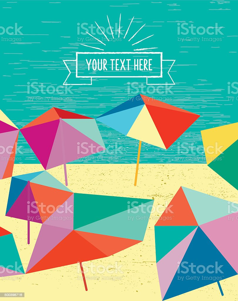 abstract colorful summer beach illustration with parasols vector art illustration