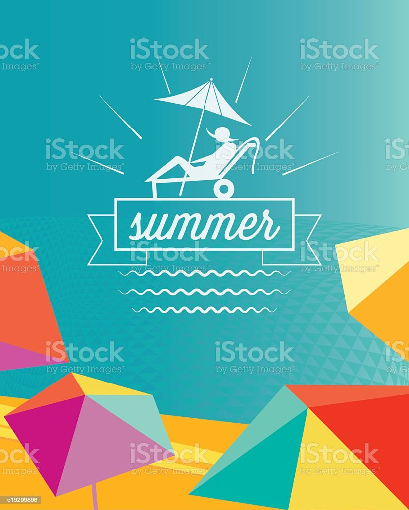 abstract colorful summer beach poster with parasols and travel symbol vector art illustration