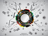 Abstract colorful technology background with modern digital elements.