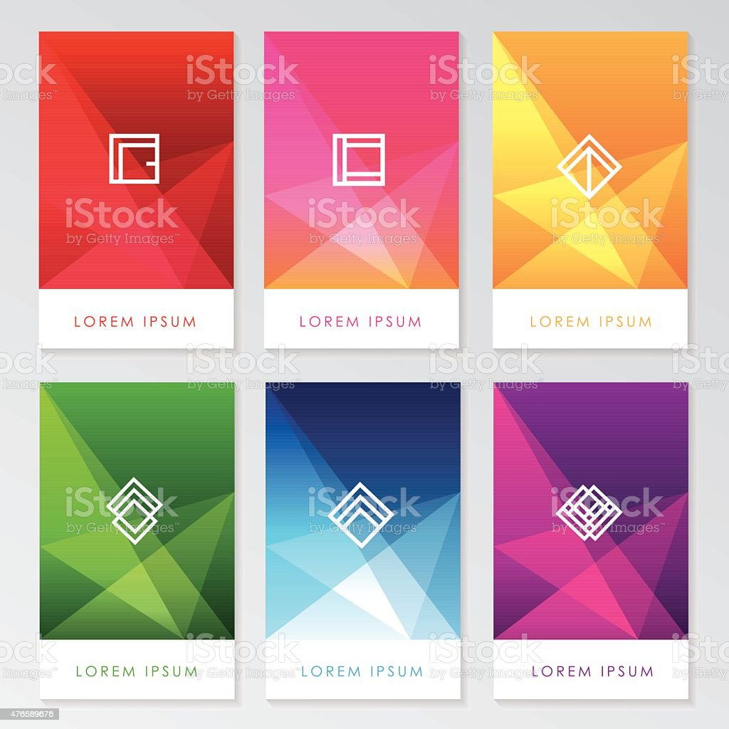 abstract colorful user interface template set collection labels with icons vector art illustration