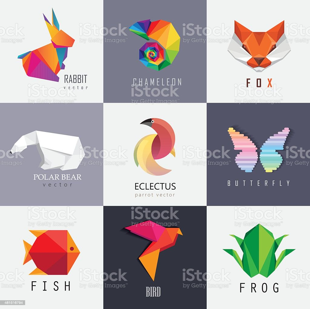 Abstract colorful vibrant animal icon design set collection vector art illustration