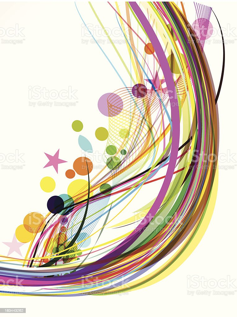 Abstract Colorful Wave Background With Star royalty-free stock vector art