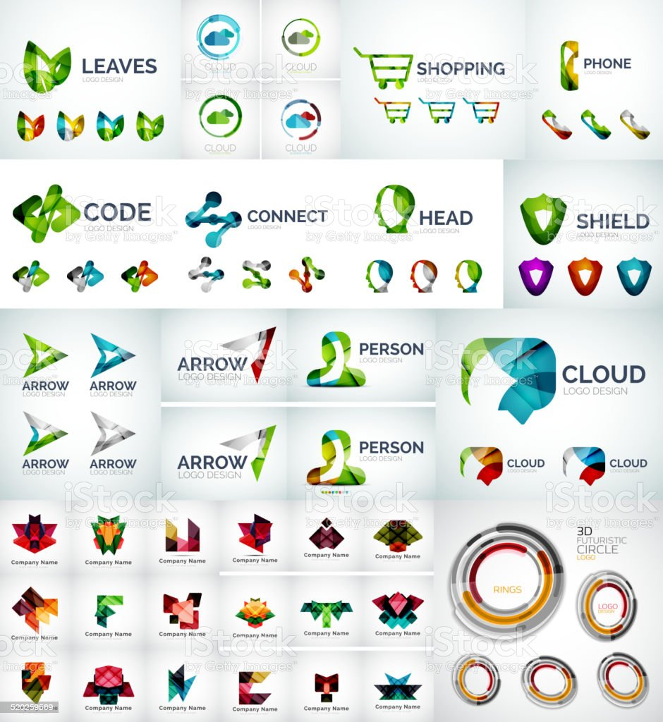 Abstract company logo collection vector art illustration