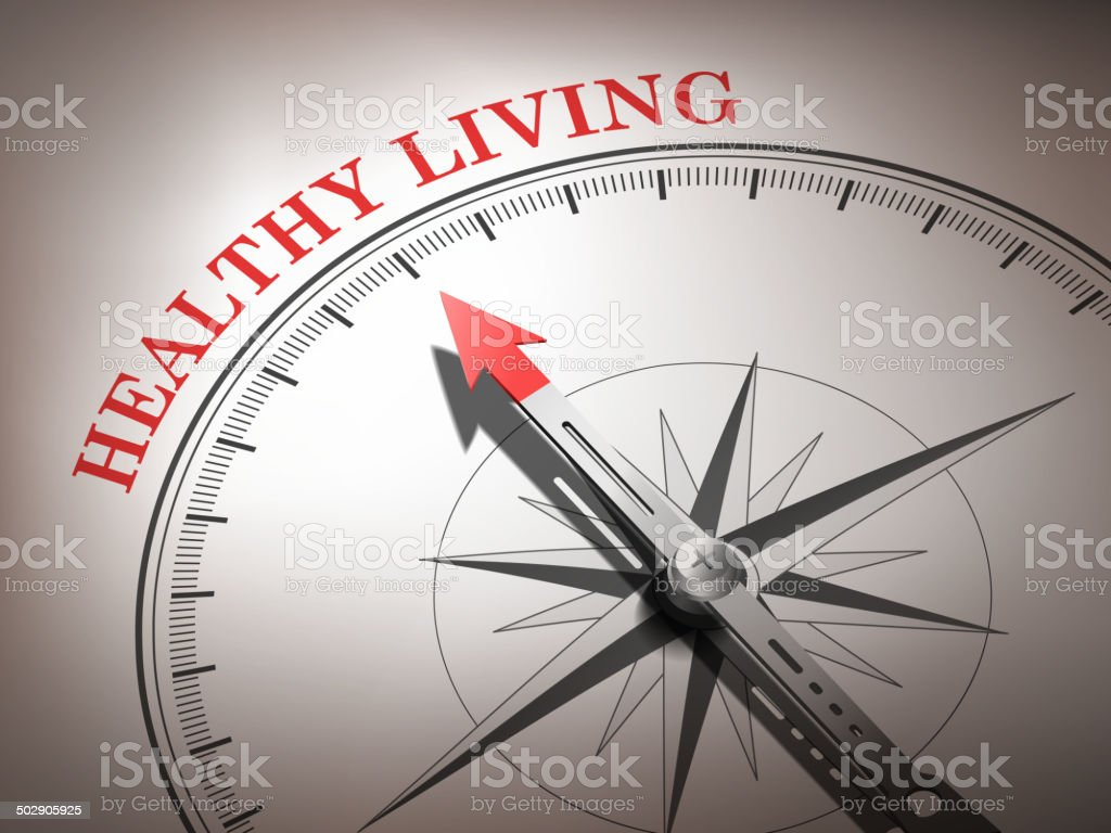 abstract compass with needle pointing the word healthy living vector art illustration