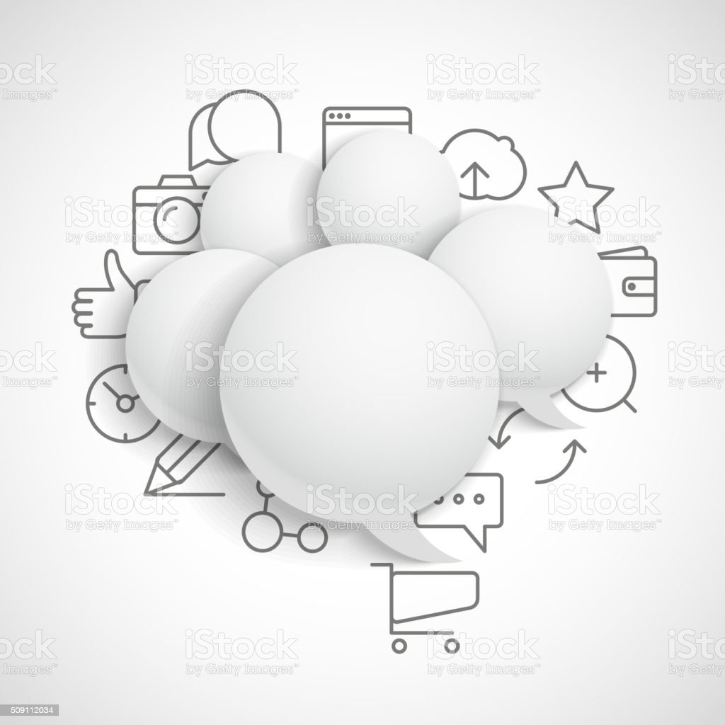 Abstract composition of speech clouds with modern media icons vector art illustration