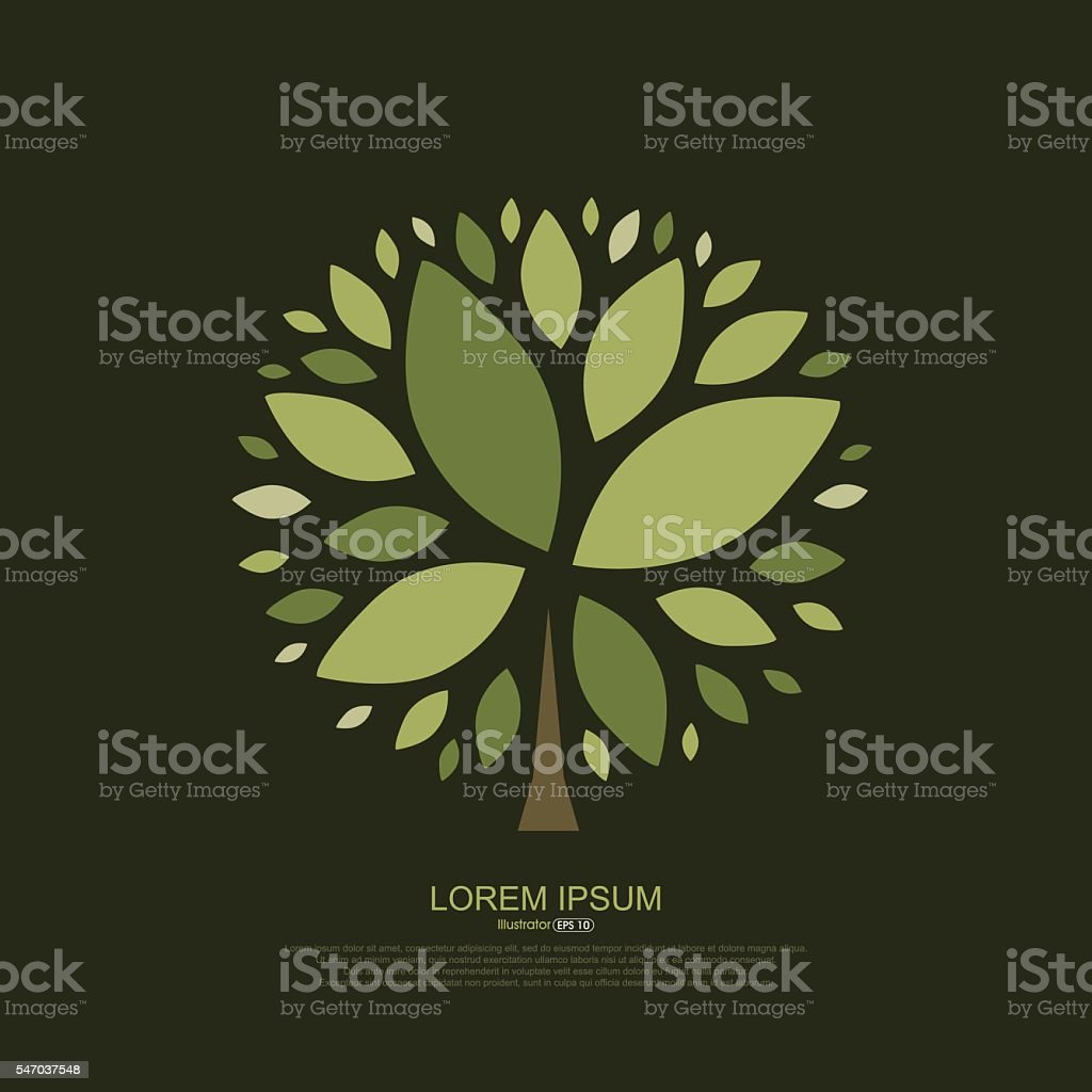 Abstract composition of tree leaves vector art illustration