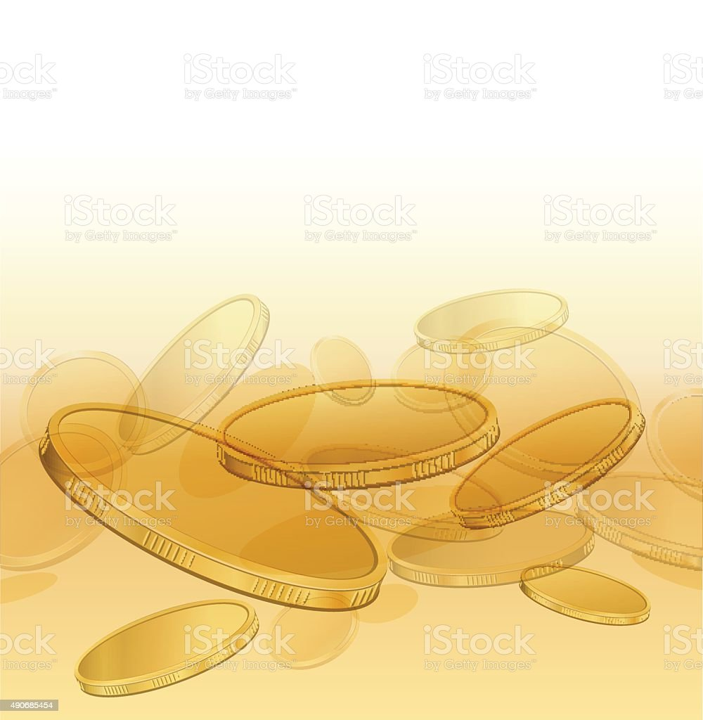 Abstract composition with gold coins vector art illustration