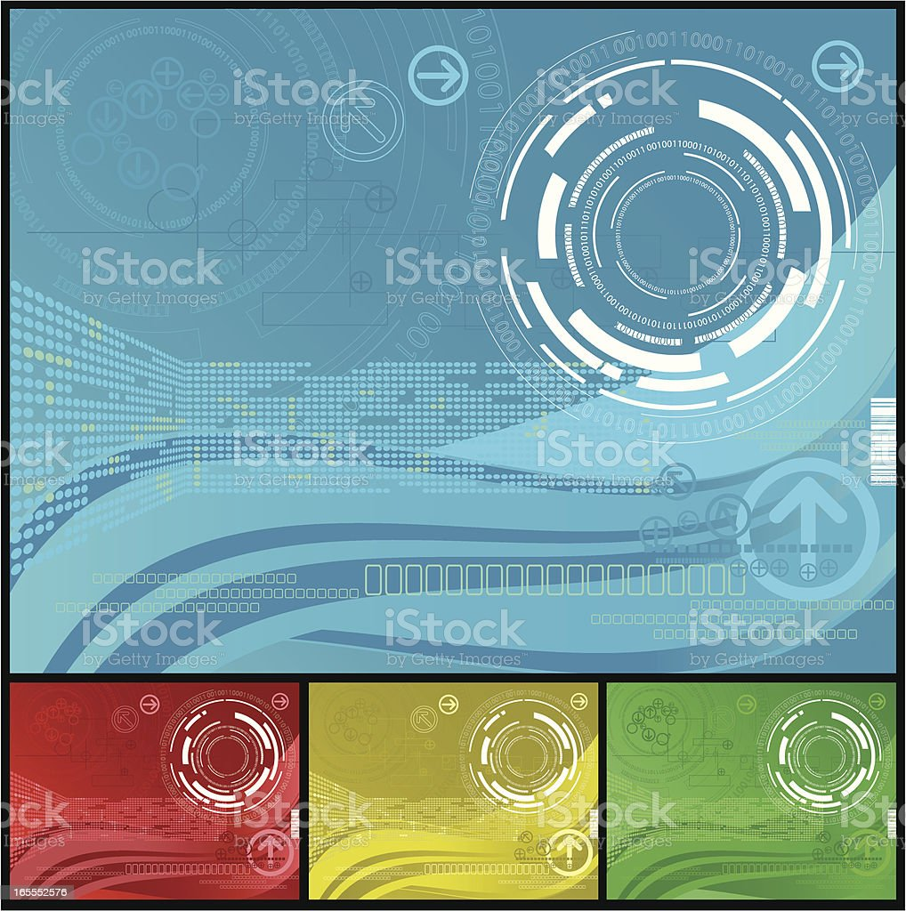 Abstract computer themed backgrounds in various colors royalty-free stock vector art