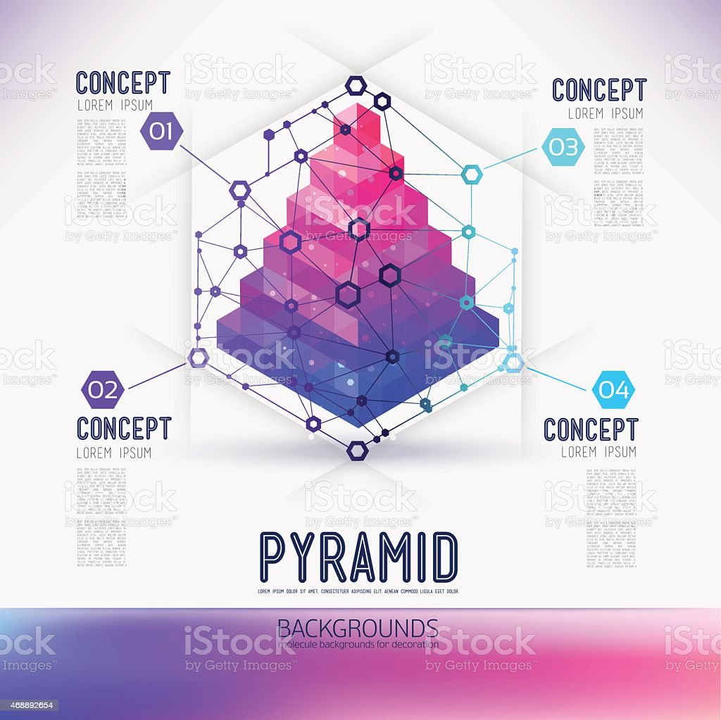 Abstract concept geometric Pyramid, in the hexagon. vector art illustration