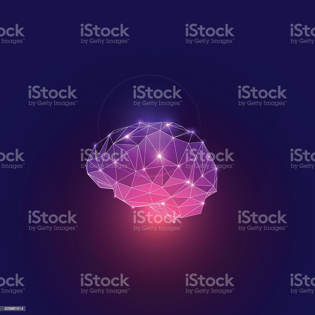 Abstract Concept of Active Human Brain vector art illustration