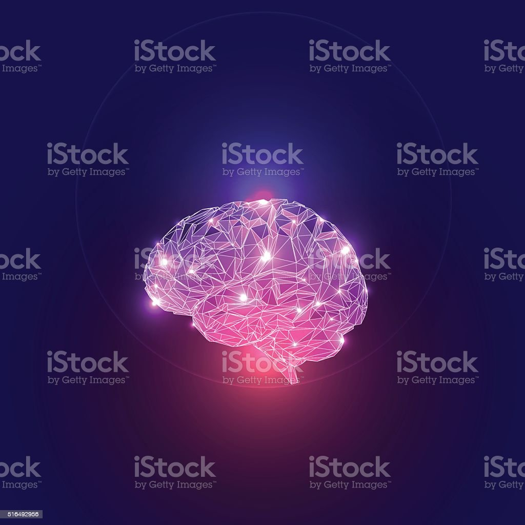 Abstract concept of human brain activity. vector art illustration