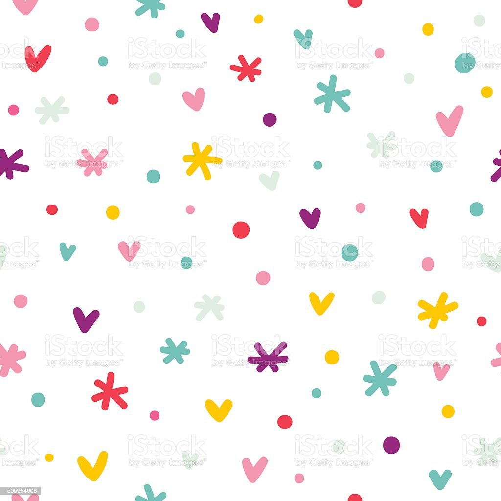Abstract confetti, hearts and stars seamless pattern vector art illustration