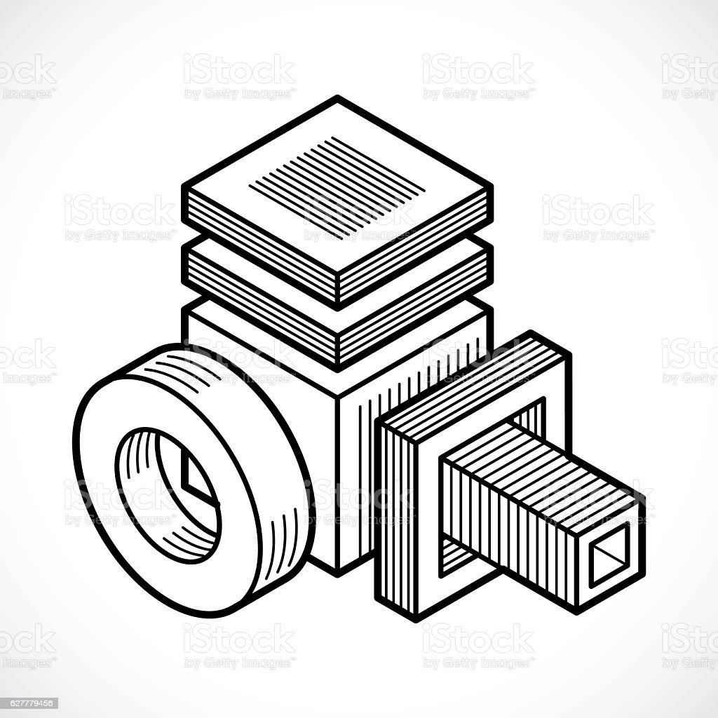 Abstract construction vector, dimensional design. vector art illustration