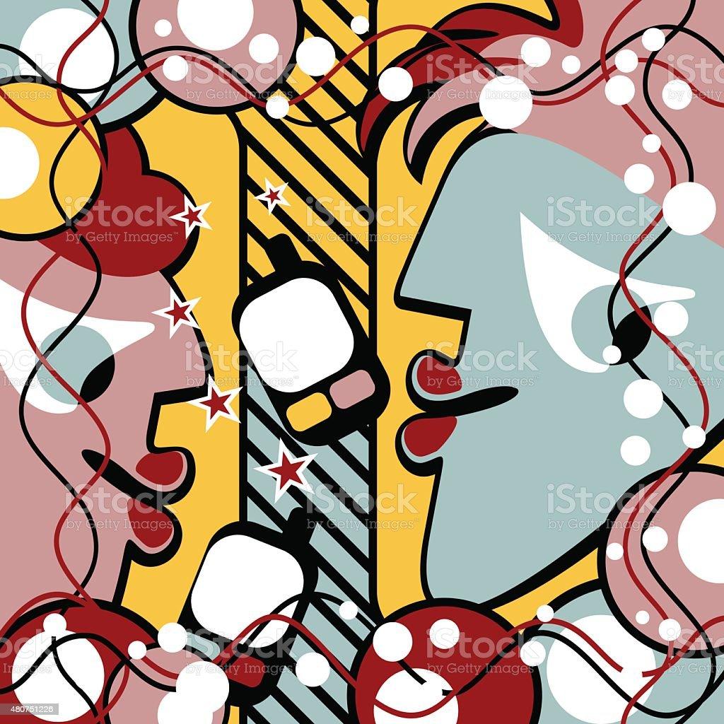Abstract conversation vector art illustration
