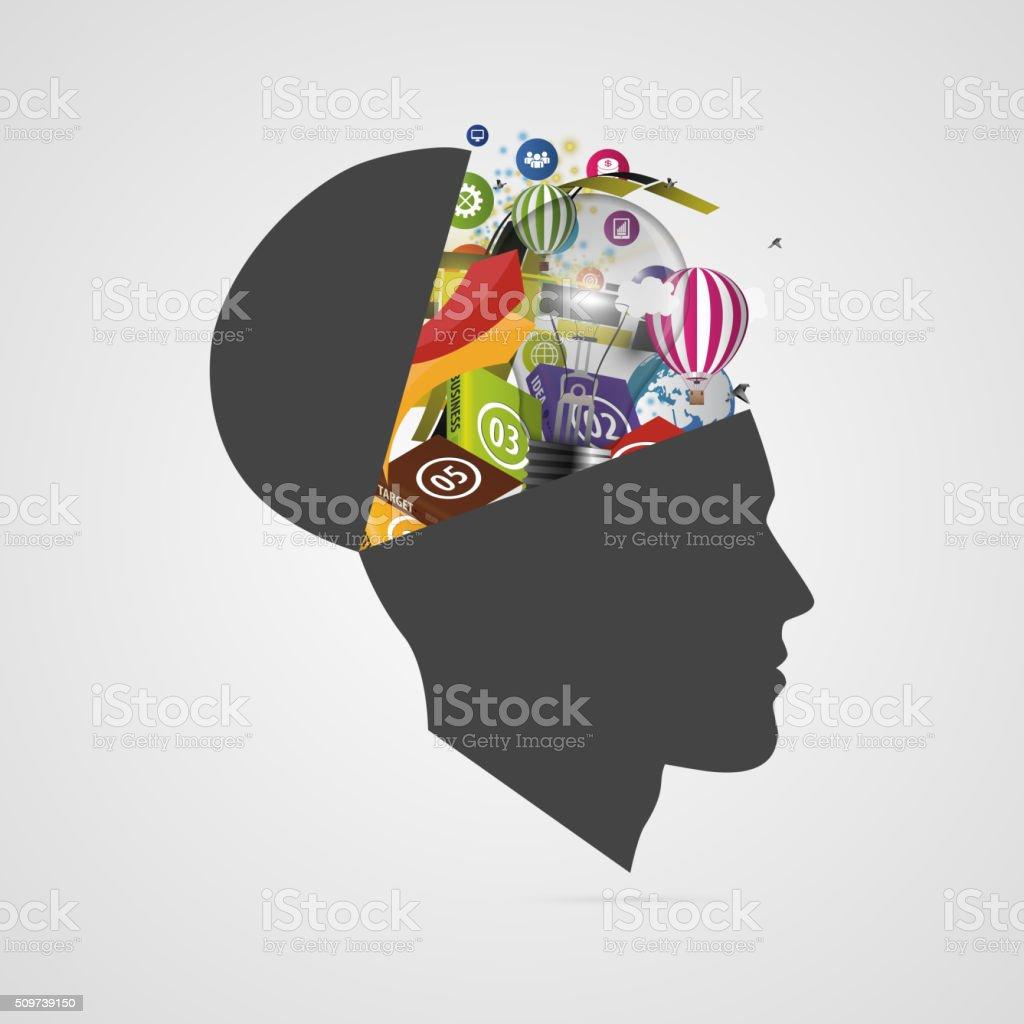 Abstract creative open head. Genius mind. Vector vector art illustration