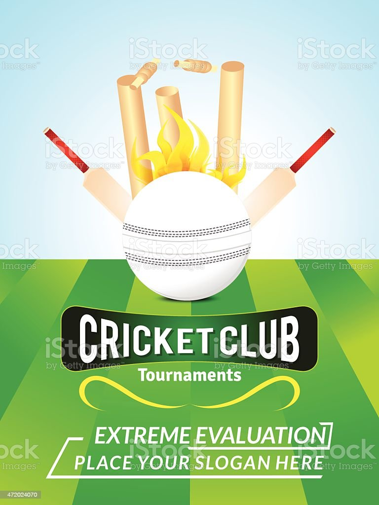 abstract cricket background with ball vector art illustration