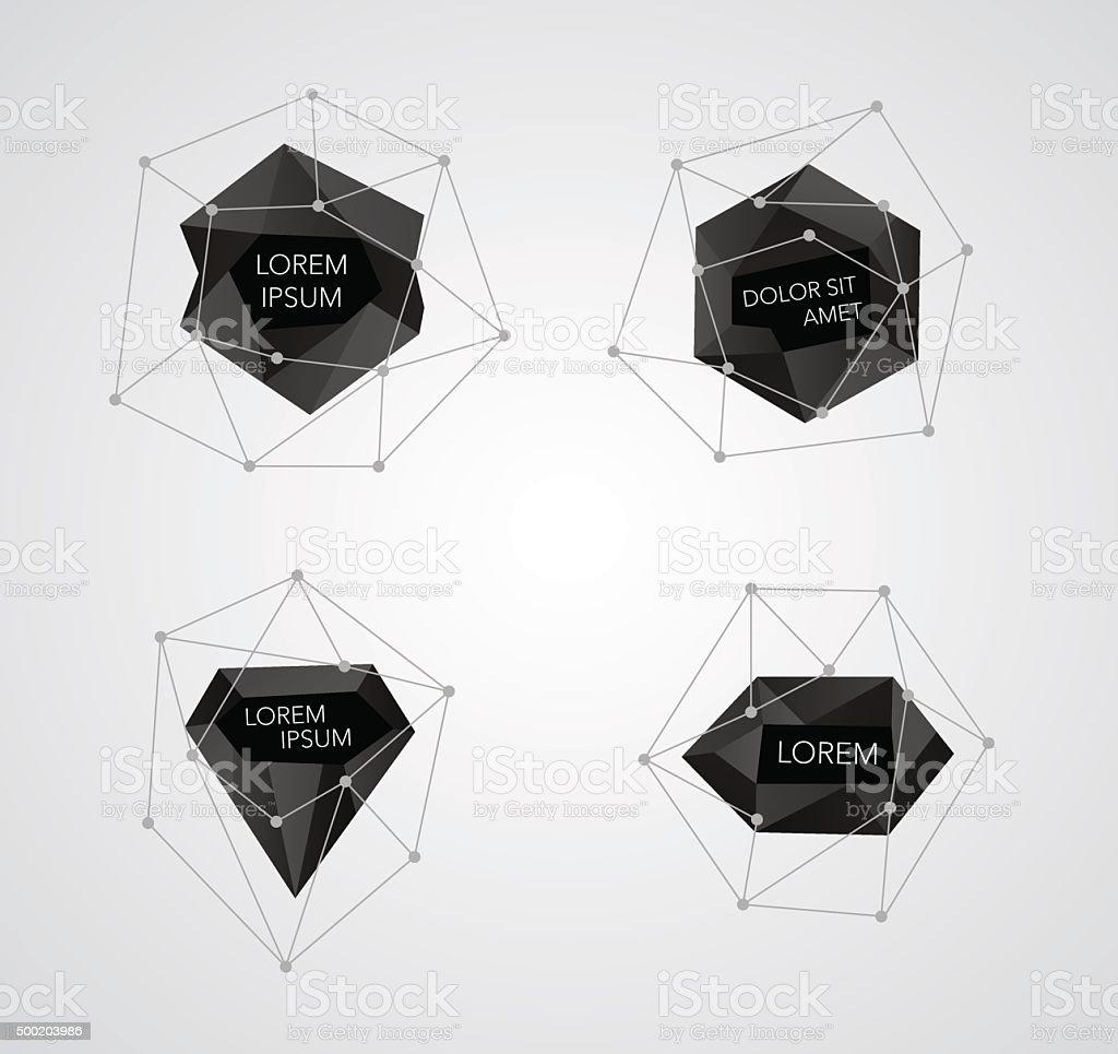 Abstract crystal templates vector vector art illustration