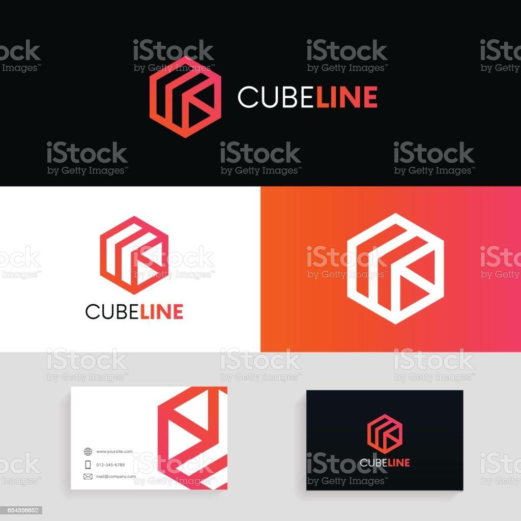 Abstract cube icon. Modern hexagon concept vector design. vector art illustration