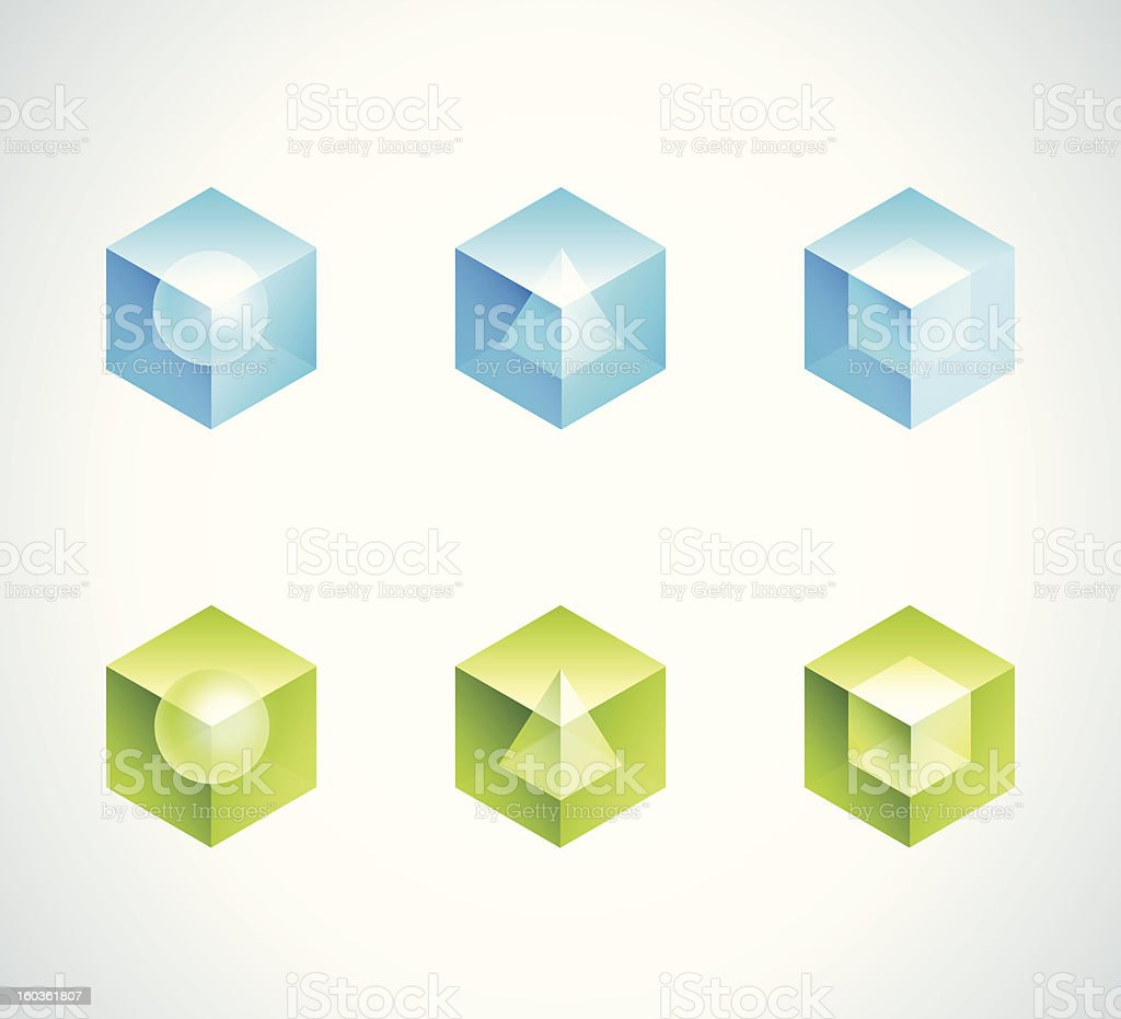 Abstract cube icons design royalty-free stock vector art