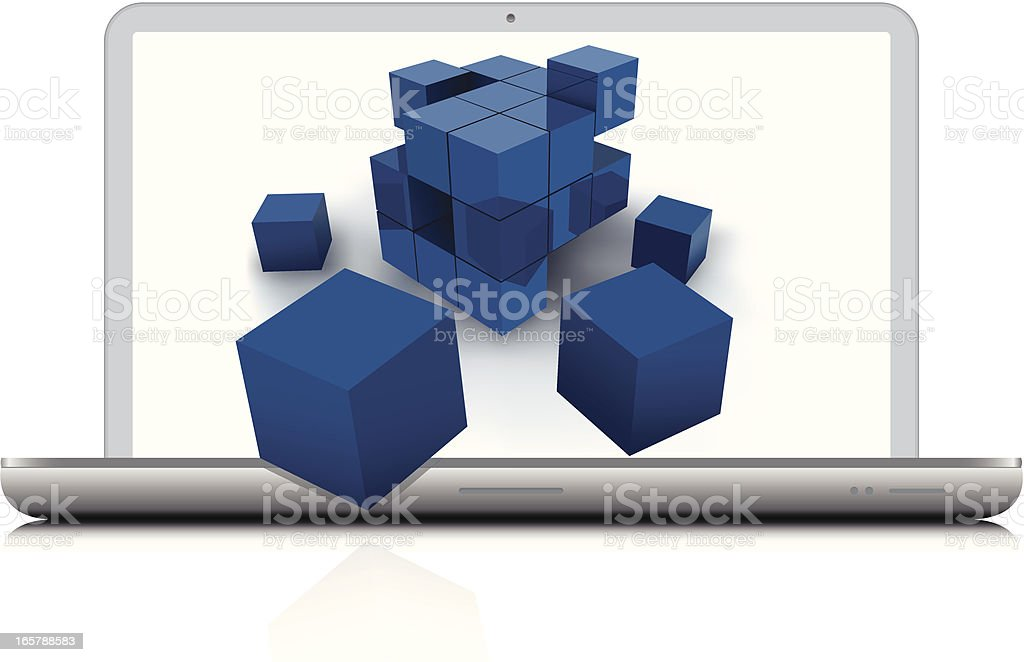 Abstract cubes with laptop vector art illustration
