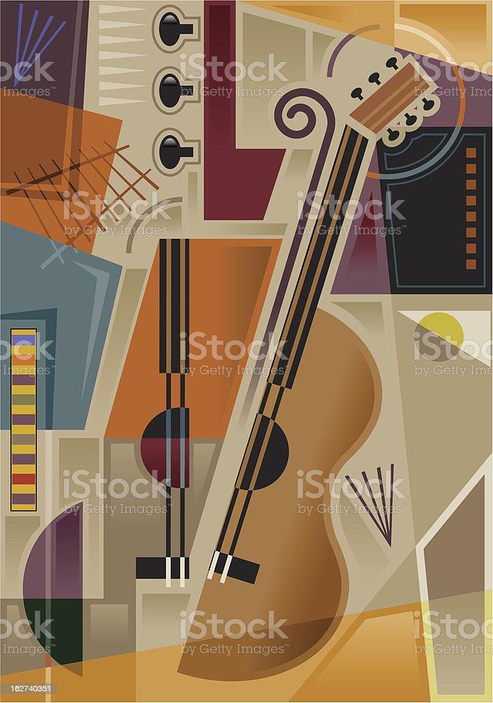 Abstract cubist music vector art illustration