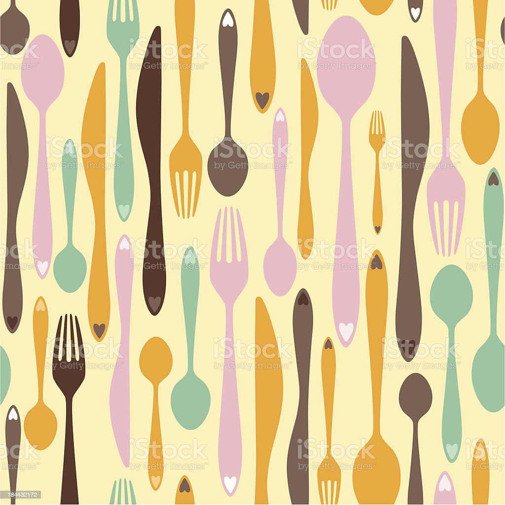 Abstract Cutlery Seamless Tile royalty-free stock vector art