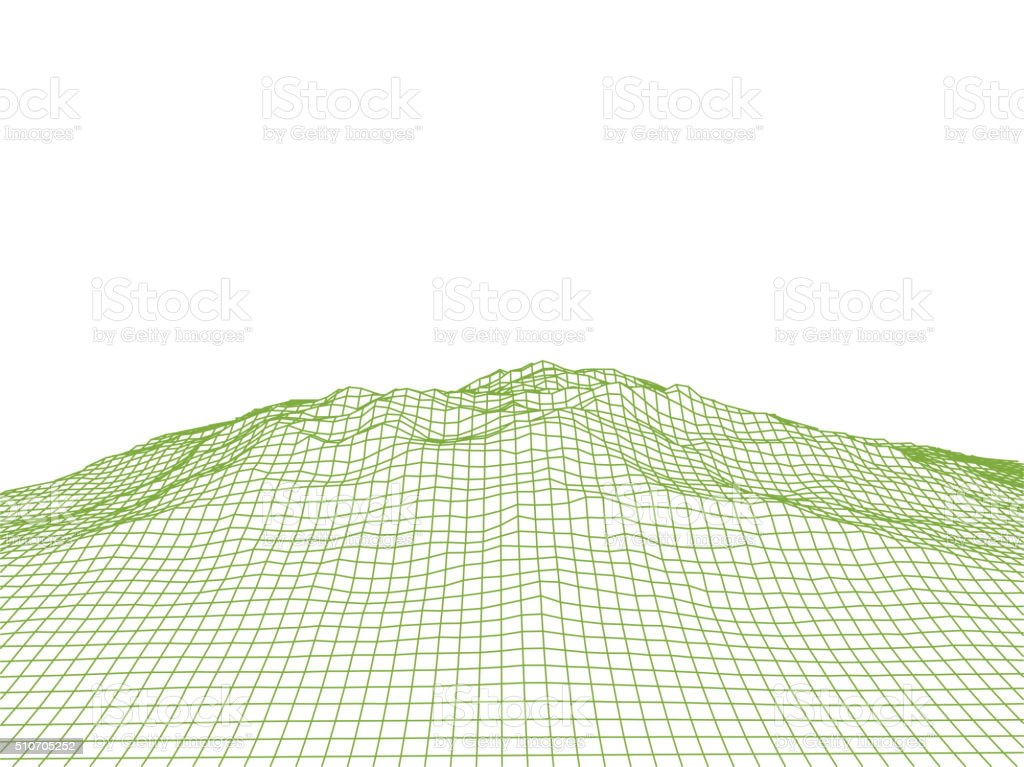 Abstract Cyberspace Grid Landscape Background vector art illustration