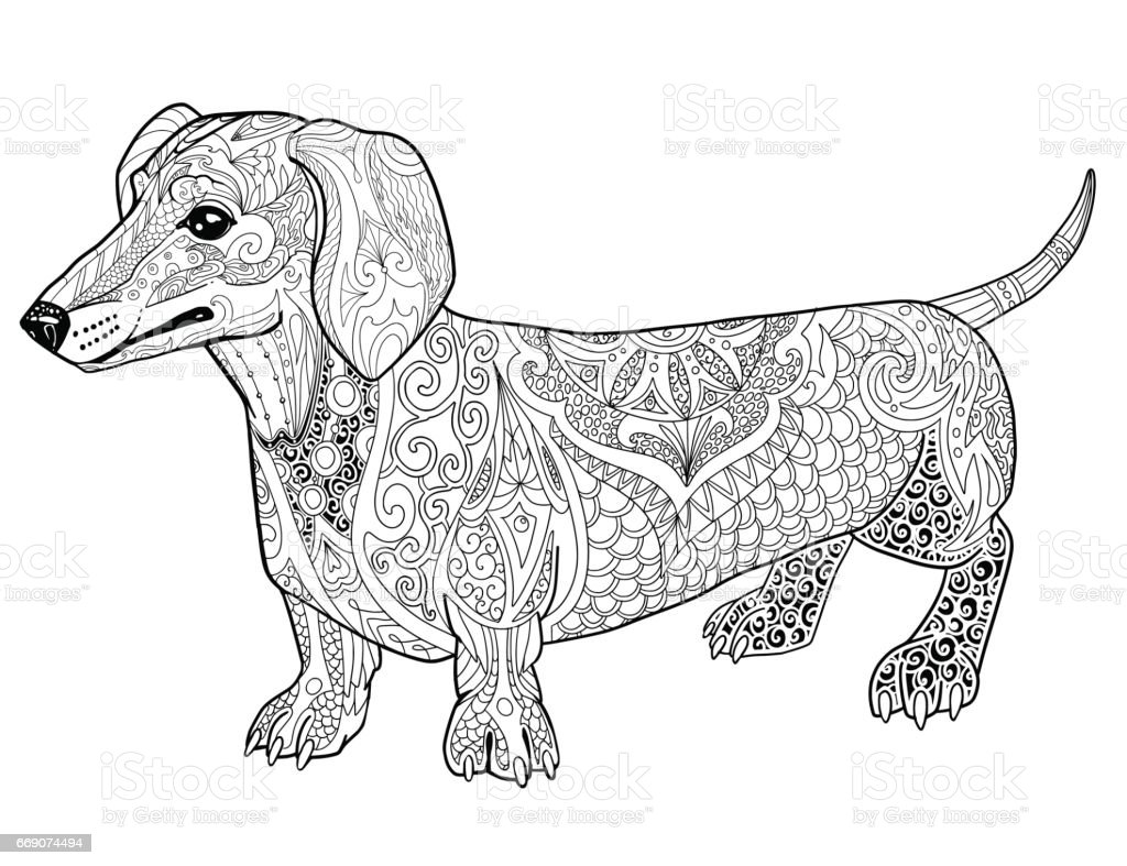 Abstract Dachshund Doodle Coloring Book Page For Adult