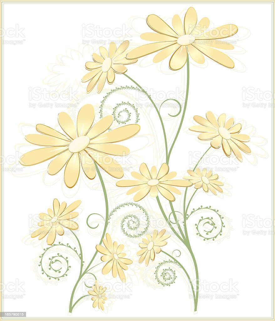 Abstract Daisies in Yellow and Orange Pastels, Optional Background royalty-free stock vector art