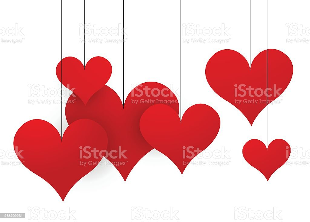 Abstract dangling hearts vector art illustration