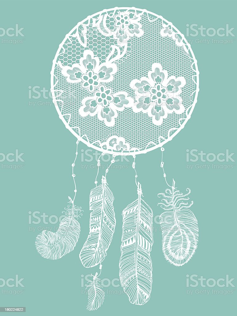 Abstract decoration lacy dream catcher. royalty-free stock vector art