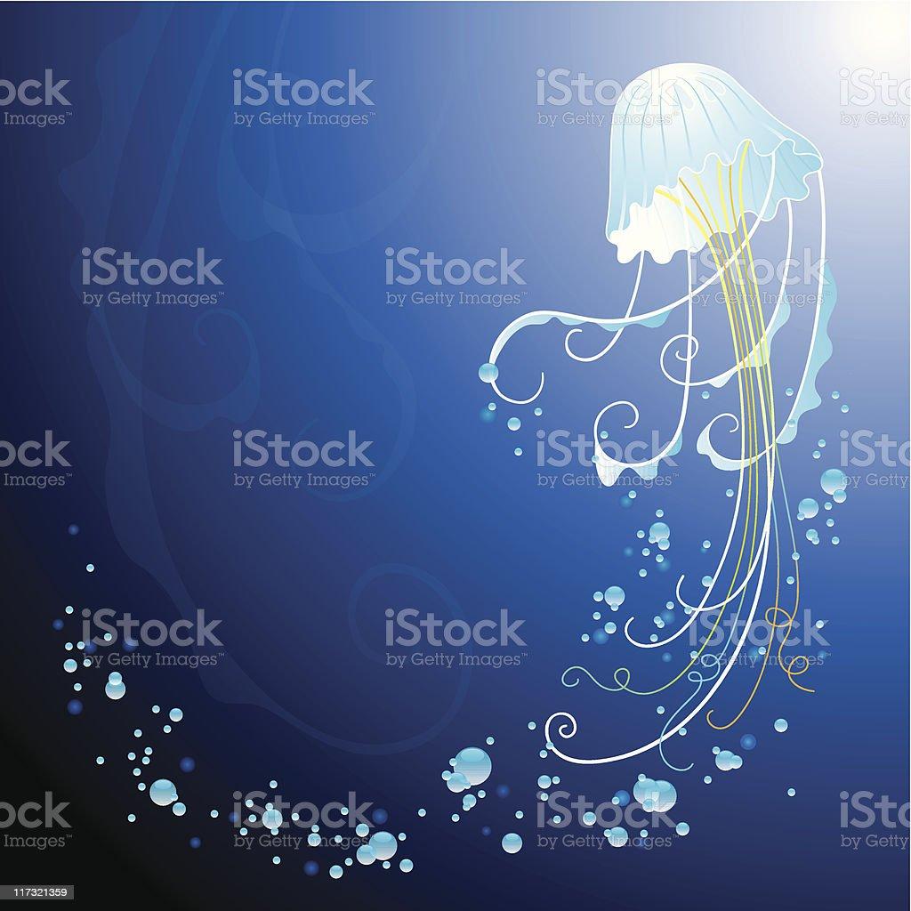 Abstract deepsea jellyfish vector art illustration